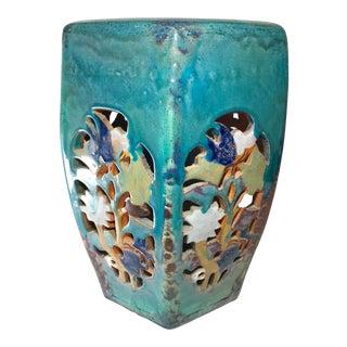 20th Century Chinese Turquoise Flambé Drip Glaze Reticulated Terra-Cotta Hexagonal Garden Stool For Sale