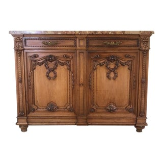 1900s French Wooden and Marble Buffet For Sale