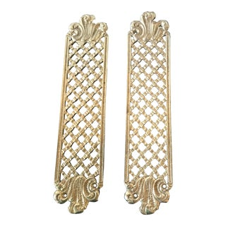 French-Inspired Decorative Brass-Plated Door Plates - a Pair For Sale