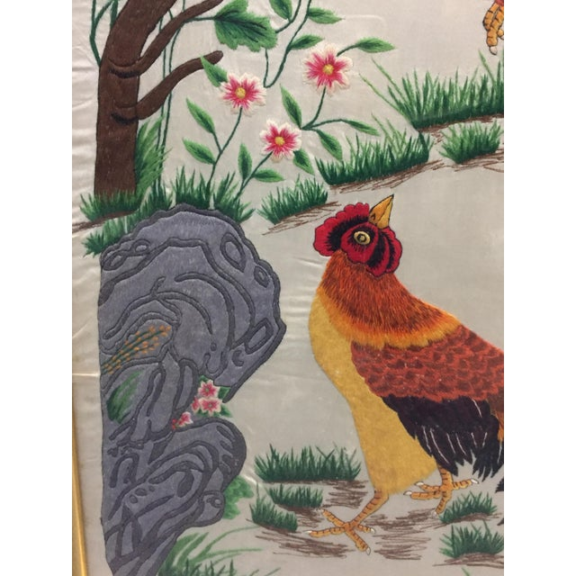 Mid 20th Century Vintage Mid-Century Chinese Embroidered Rooster and Bird Panels - A Pair For Sale - Image 5 of 11