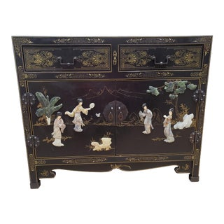 1970s Chinese Hand Painted Stone Inlaid Wooden Lacquered Cabinet For Sale