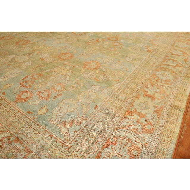 Pale Green Terracotta Antique Rug, 9'1'' X 12'7'' For Sale - Image 9 of 13