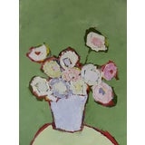 "Image of Bill Tansey ""Mint Wall"" Abstract Floral Painting Oil on Canvas For Sale"