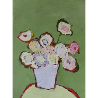 "Bill Tansey ""Mint Wall"" Abstract Floral Painting Oil on Canvas For Sale"