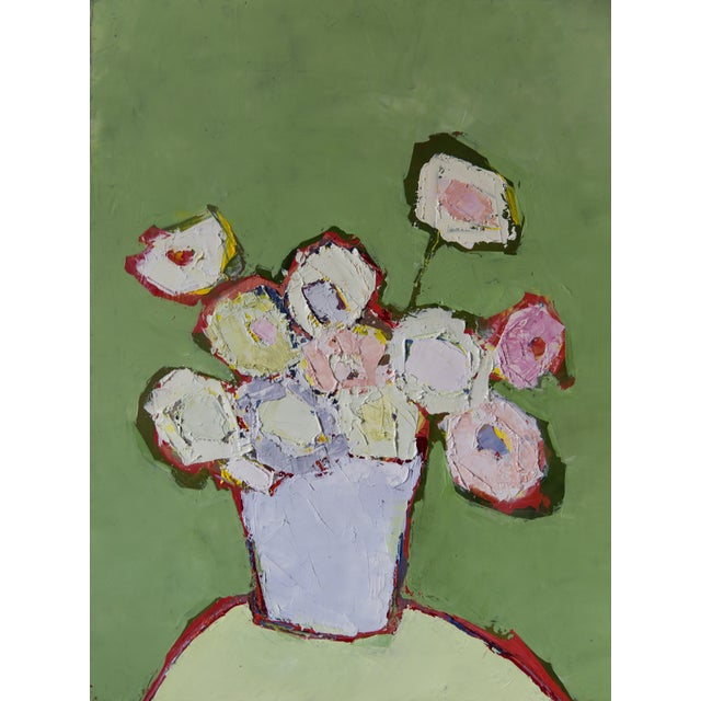 """Bill Tansey """"Mint Wall"""" Abstract Floral Painting Oil on Canvas For Sale"""