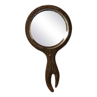 Faux Woodgrain Handheld Mirror