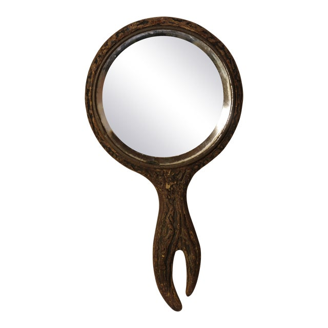 Faux Woodgrain Handheld Mirror For Sale