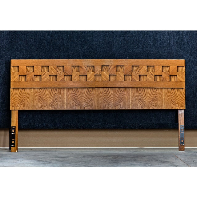 Mid century Brutalist headboard by Lane and inspired by Paul Evans. Made from solid oak. This piece is extremely heavy...