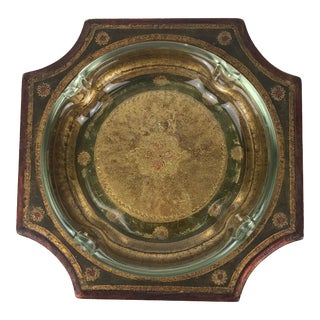 1950s Italian Florentine Wooden and Glass Ashtray For Sale
