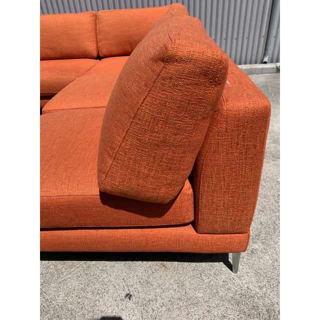 """Awesome monumental """"Dania"""" sectional by Dellarobia. Orange boucle is original and soft and clean. Polished tapering..."""