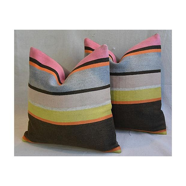 Custom Tailored Anatolian Turkish Kilim Wool Feather/Down Pillows - A Pair - Image 7 of 11