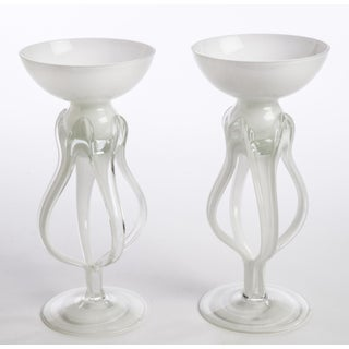 Mid Century Vintage Glass Candleholders - Pair Preview