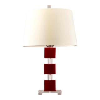 Mid-Century Stacked Geometric Red Lucite Table Lamp