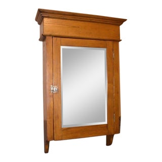 Huge Antique Wall Medicine Cabinet Primitive Display Mirrored Cupboard For Sale
