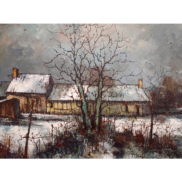 1970s 1970s Cottage Oil Painting, Winter Countryside Landscape by Aldo Luongo For Sale - Image 5 of 10
