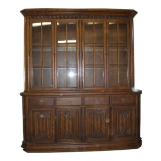 Conant Ball Windsor Plank Lighted China Hutch & Sideboard For Sale