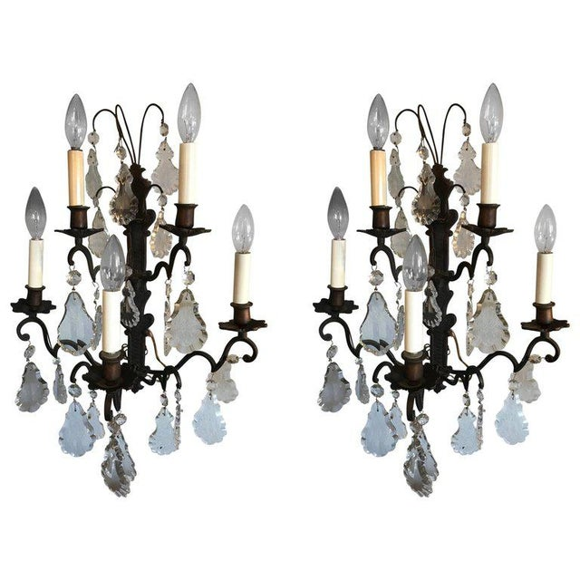 1940s Iron and Crystal Sconces - a Pair For Sale - Image 5 of 5
