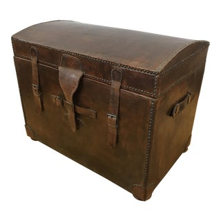 Vintage Leather Trunk With Nailheads