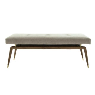 Mid-Century Modern Sculptural Brass Accented Walnut Bench For Sale