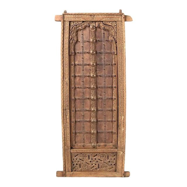 Antique Hand Carved Arched Door With Iron Straps Brass Pins| Indian Carved Door| Old Door Repurposed Wall Art| Rustic Door| Spanish Door For Sale