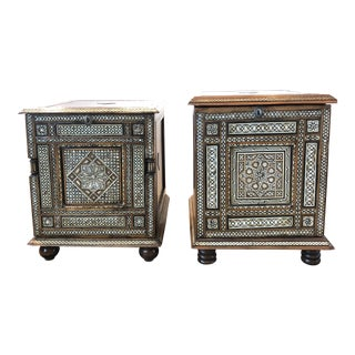 Pair of 20th Century Syrian Mother of Pearl Inlay Side Tables/Cabinets For Sale