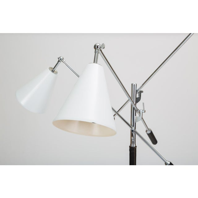 1950s Three-Arm Italian Modernist Floor Lamp With Marble Base For Sale - Image 5 of 13