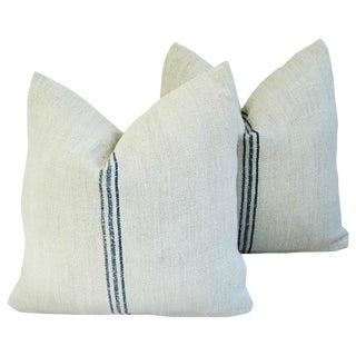 Custom French Grain Sack Textile Pillows - Pair