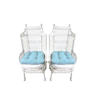 Vintage White Wicker and Cane High Back Conservatory Armchairs - a Pair Preview
