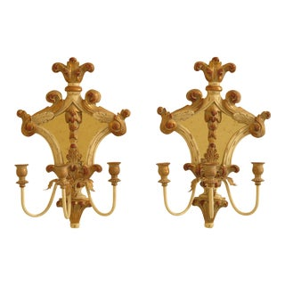 Ethan Allen Venetian Mirrored Wall Sconces - a Pair For Sale