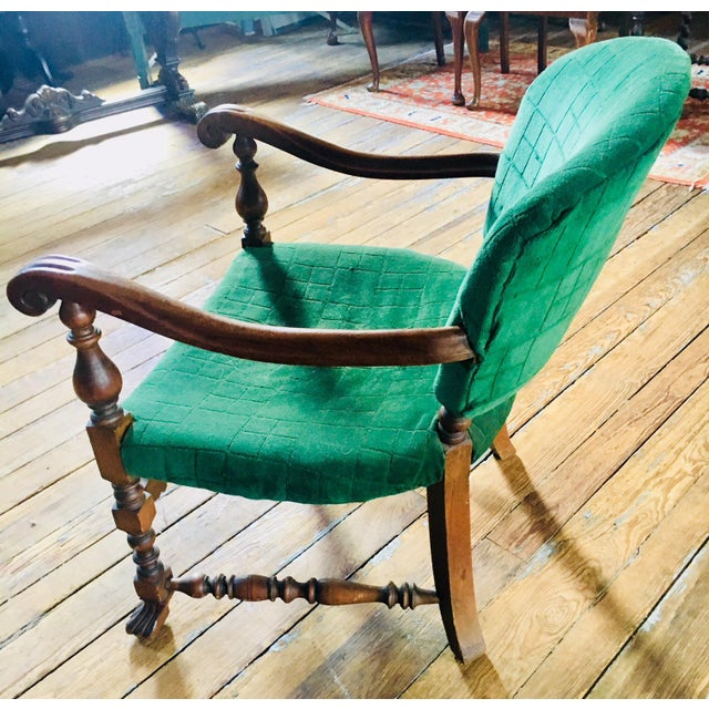 English 1920s Vintage Carved Emerald Armchair For Sale - Image 3 of 7
