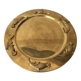 1970s Hollywood Regency Brass Pinapple Tray/Platter For Sale