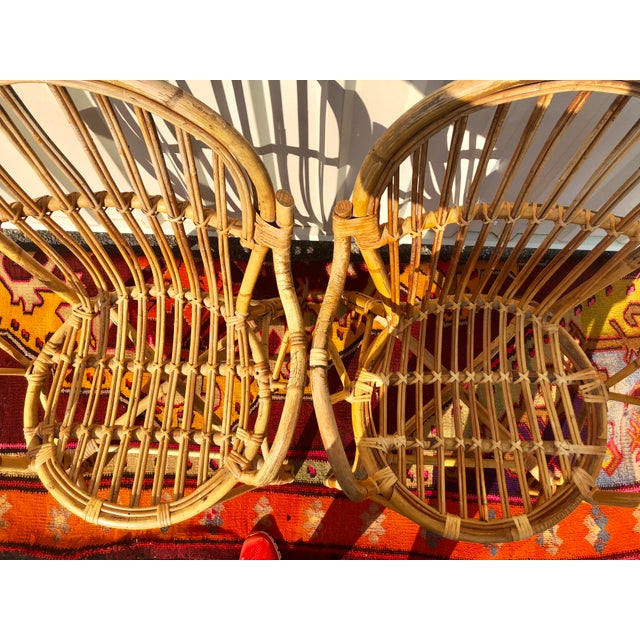 Albini Style Bamboo Rattan Bistro Chairs- a Pair For Sale - Image 12 of 13