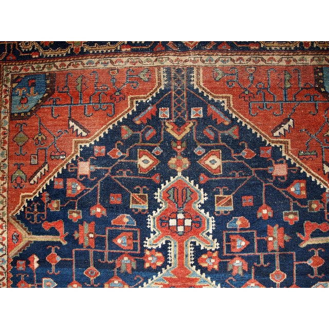 Textile 1920s Handmnade Antique Persian Malayer Rug - 4.10' X 7.3' For Sale - Image 7 of 8