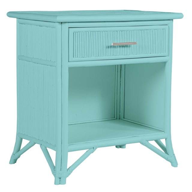 Wood Aruba One-Drawer Nightstand - Turquoise For Sale - Image 7 of 7