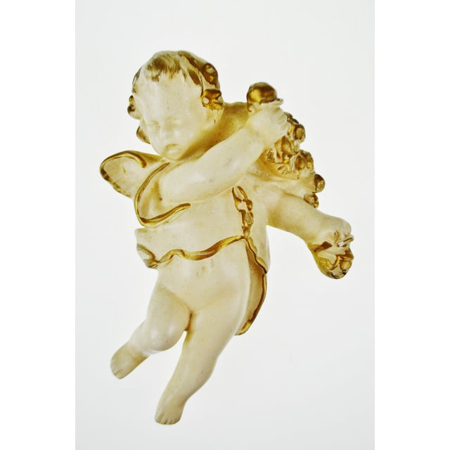 Vintage Ceramic Cherub Lavabo Wall Fountain Wall Pocket - Image 7 of 10