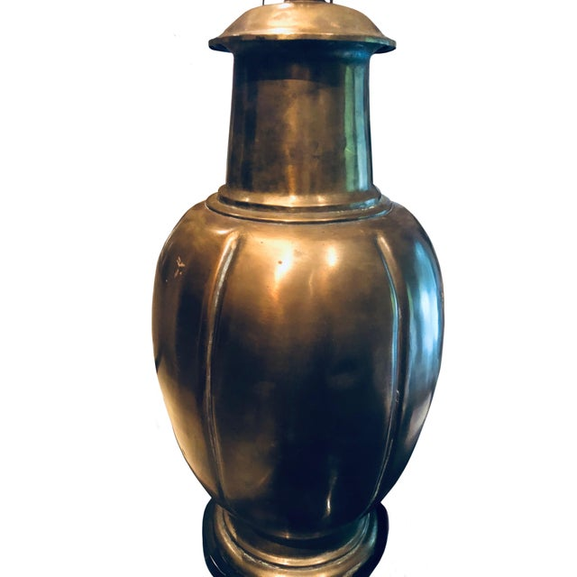 Mid-Century Modern 1950s James Mont Oval Brass Lamp For Sale - Image 3 of 5