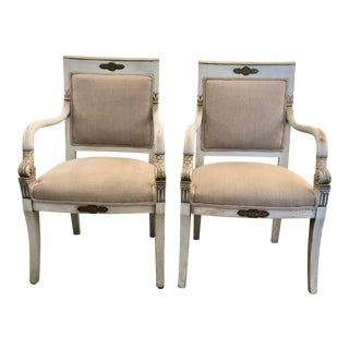 Pair of French Painted and Upholstered Dolphin Armchairs For Sale