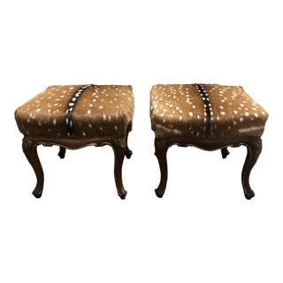 18th Century Italian Stools With Antelope Hide - a Pair For Sale