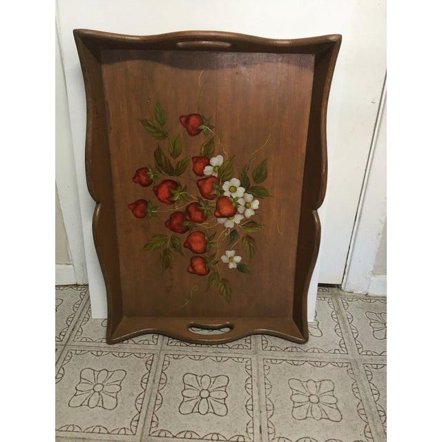 19th Century Large Hand Painted Wood Serving Tray Fruit Painted Serving Tray Decorative Serving Tray For Sale - Image 11 of 12