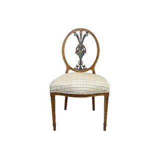 19th Century Antique Hand Painted Medallion Back Chair For Sale