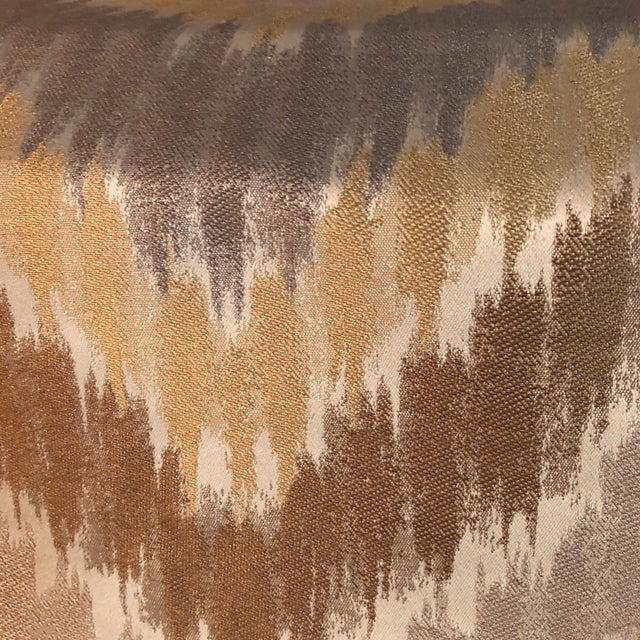Gray, Golden & Brown Fabric - 1.5 Yards For Sale - Image 4 of 6