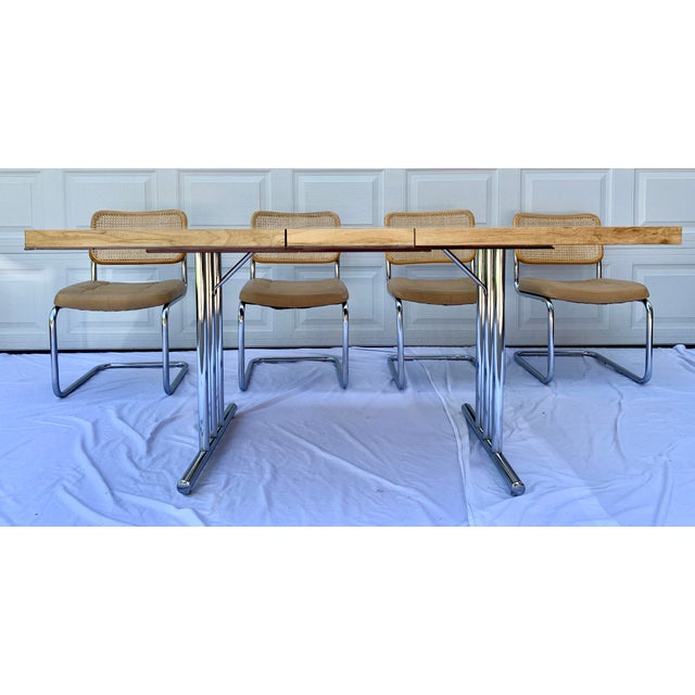 1980s Bauhaus Wicker and Chrome Dining Set - 5 Pieces For Sale In Wichita - Image 6 of 13