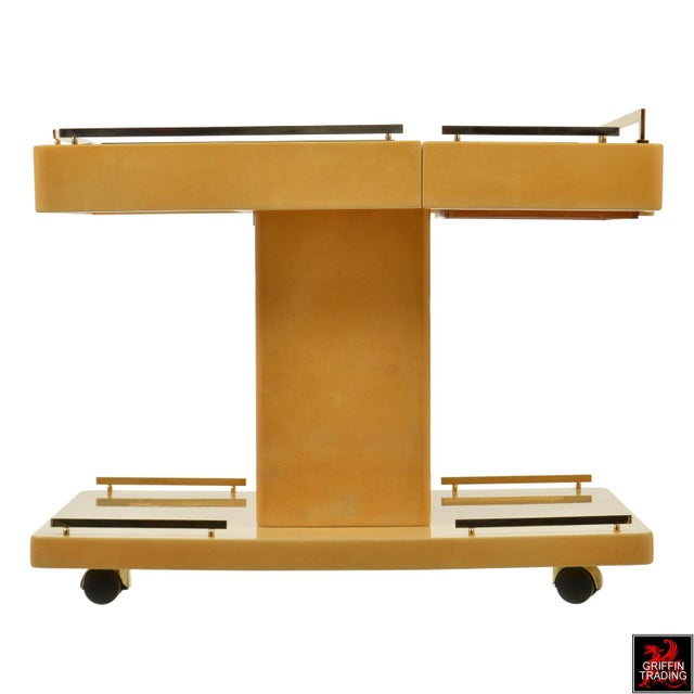 1960s Aldo Tura Italian Cocktail Cart - Bar Cart in Lacquered Goatskin For Sale - Image 5 of 12