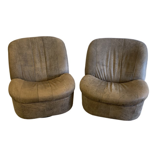 Kagan Style Leather Swivel Rocker Chairs - a Pair For Sale
