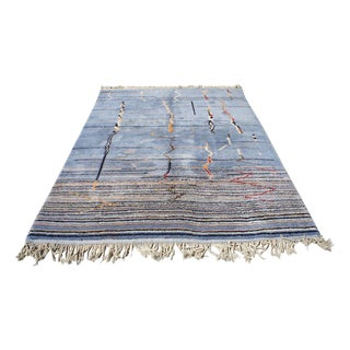 "Moroccan Light Blue Abstract Rug- 6'5"" x 9' For Sale"