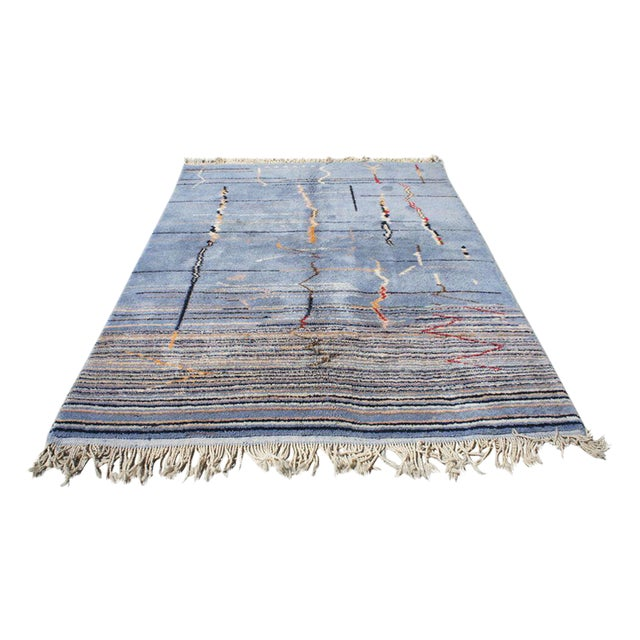 "Moroccan Light Blue Abstract Rug- 6'5"" x 9' - Image 1 of 7"