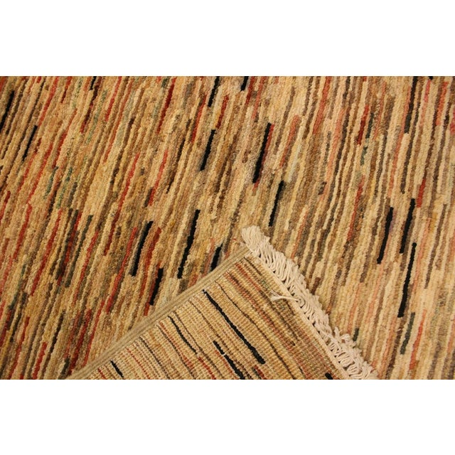 Textile Boho Chic Gabbeh Peshawar Tena Tan/Rust Hand-Knotted Wool Rug -3'2 X 4'10 For Sale - Image 7 of 8