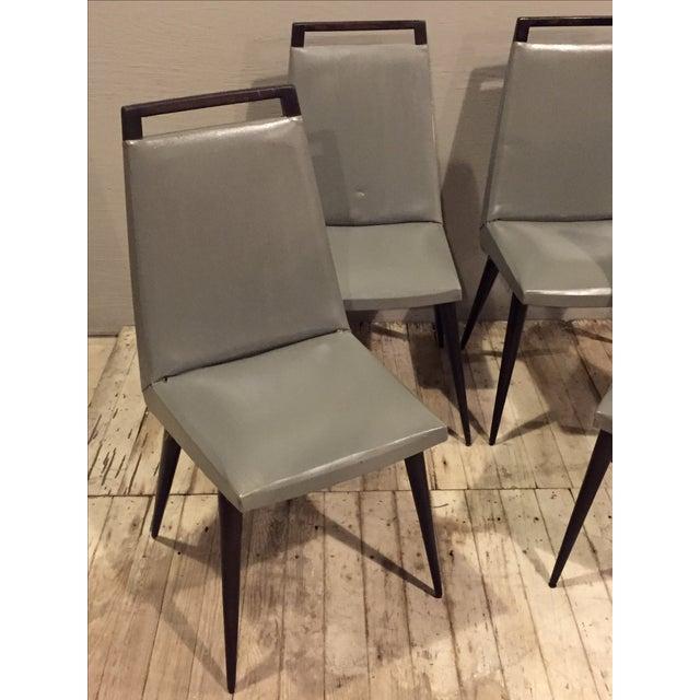Vintage 1960s Mod Wood & Vinyl Chairs - 4 - Image 3 of 8