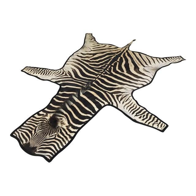 Forsyth Authentic Zebra Hide Rug Trimmed in Black Velvet For Sale