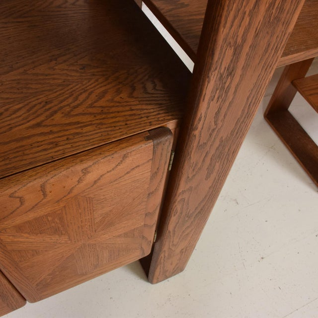 Lou Hodges Mid Century Modern Solid Oak Wood Wall Unit by Lou Hodges For Sale - Image 4 of 11